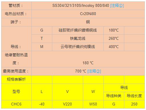 单头电加热管选型指导-技术参数选择